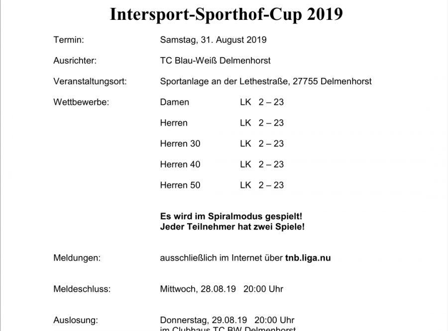 7. TCBW – LK Tagesturnier um den Intersport-Sporthof Cup 2019